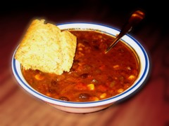 Black bean soup with cornbread